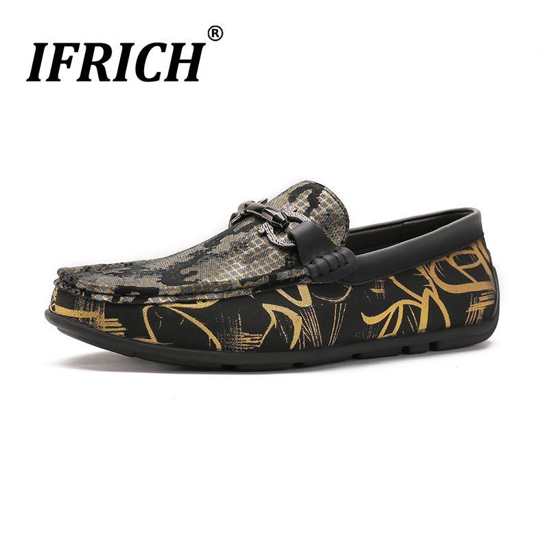 2019 New Popular Ifich Marca Causal Sapatos para Homens de Prata de Ouro Dos Homens Rivet Cravou Mocassins de Couro Genuíno Slip-On Sneakers