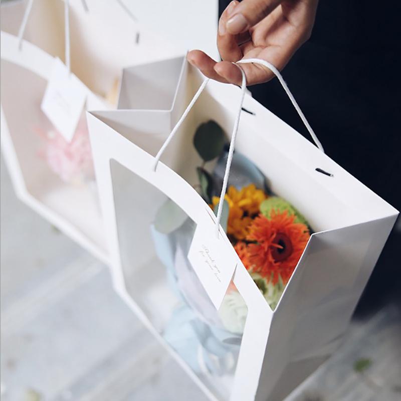 5Pcs / Set Sac Fenêtre transparent anniversaire sac cadeau fleur de mariage de vacances Bonbons Emballage papier