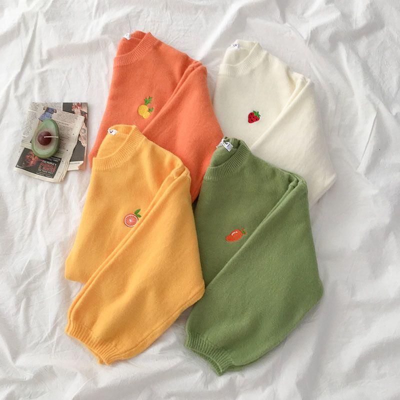 Frutas Bordados Sweater Mulheres do outono do estudante 2019 solto Oversize manga comprida Pullover Feminino Amarelo Branco coreano Tops