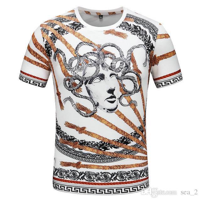 2019 été nouvelle chemise à manches courtes T-shirt de mode européenne et américaine rue hommes hip-hop de haute qualité chemise rayée rouge et vert T-shi6966