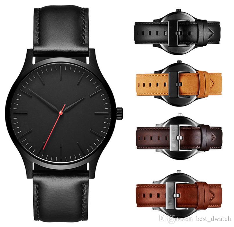 Berühmte Luxus Herrenuhren 40mm Qualität Sport Herrenuhr Rose Gold Leder Mann Mode Kleid Quarz Armbanduhren