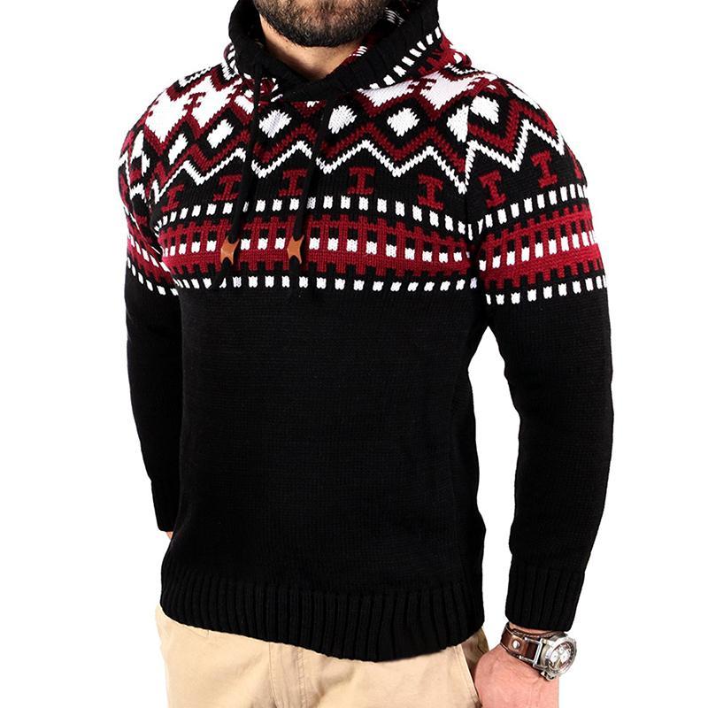 남자 스웨터 2018 새로운 남성 패션 트렌드 컬러 모자이크 성격 후드 슬림 스웨터 캐주얼 Dropshipping