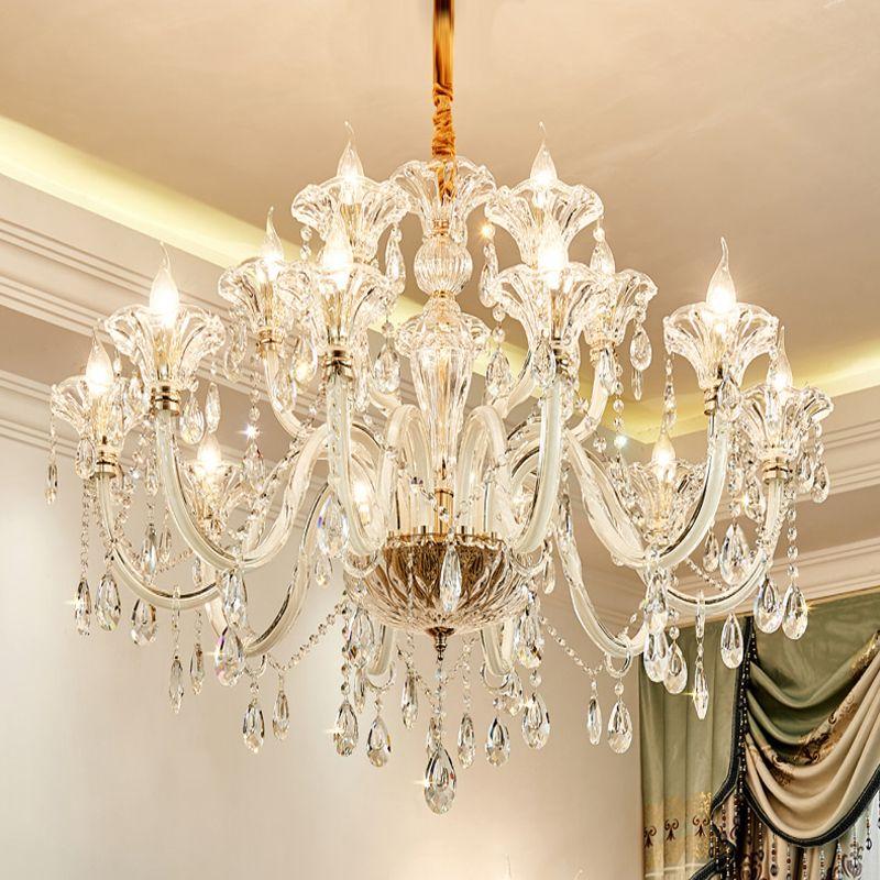New Style Europeu Quarto Sala de cristal luzes do candelabro de luxo Restaurante Salão Cristal Pingente luzes simples vela lâmpadas de cristal