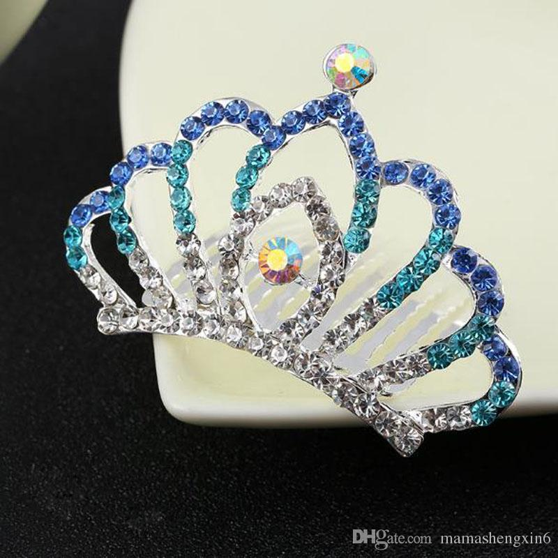 New Flower Girls Rhinestone Silver Crown Tiara Comb Pageant Princess Party
