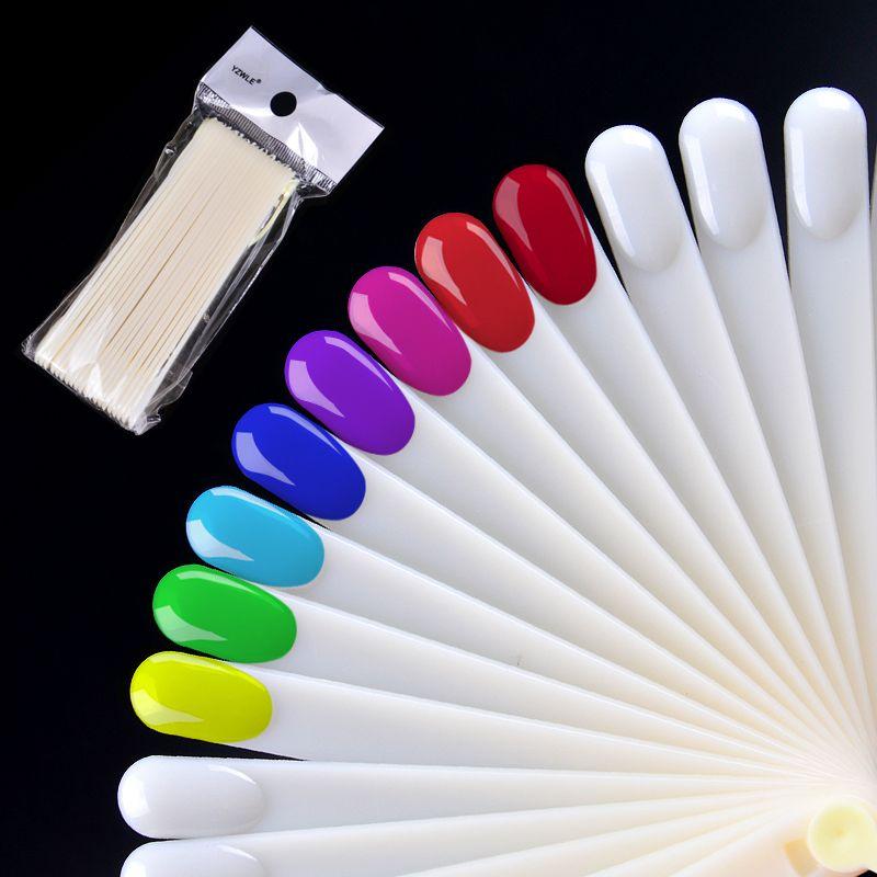 20pcs/set Polish Uv Gel Color Palette Card Display Fan Shaped Natural False Nail Tip Sticks Colored Practice Training Pops