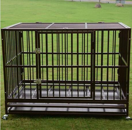 """Wholesales Free shipping 42"""" Heavy Duty Dog Cage Crate Kennel Pet Playpen Portable with Tray Black"""