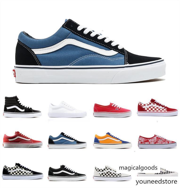 2020 ван моды Классический холст старый SKOOL Sk8 Повседневная обувь Мужчины Женщины 1970 Звезда OG черный белый красный синий Checkerboard кроссовки