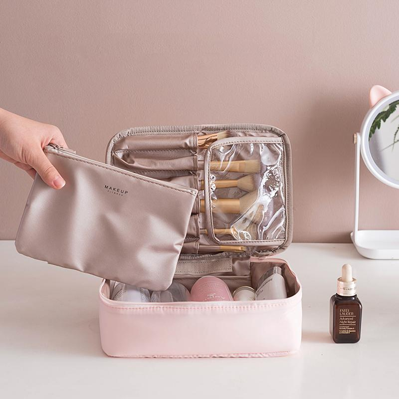 2020 Sıcak Satış Seyahat Kozmetik Çantası Çantası Pembe Makyaj Su geçirmez Çanta