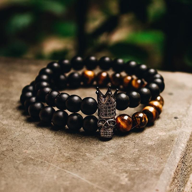 Камень бисер браслет Мужские аксессуары Корона Braclets 2 Piece Set ювелирные изделия мужские браслеты для женщин