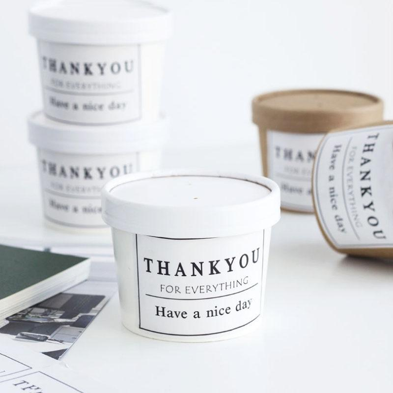 Kraft Paper Box Khaki Candy Bucket Wedding Favors Gift Box white ice cream Package Birthday Party Baby Shower with Cover 10Pcs