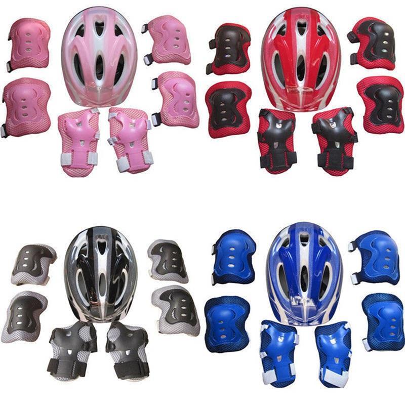 Роликовые 7Pcs Дети Безопасность Скейтборд Шлем Колено Локоть Запястье колодки Комплект для велосипедов Велосипед Скейтборд Защитное снаряжение
