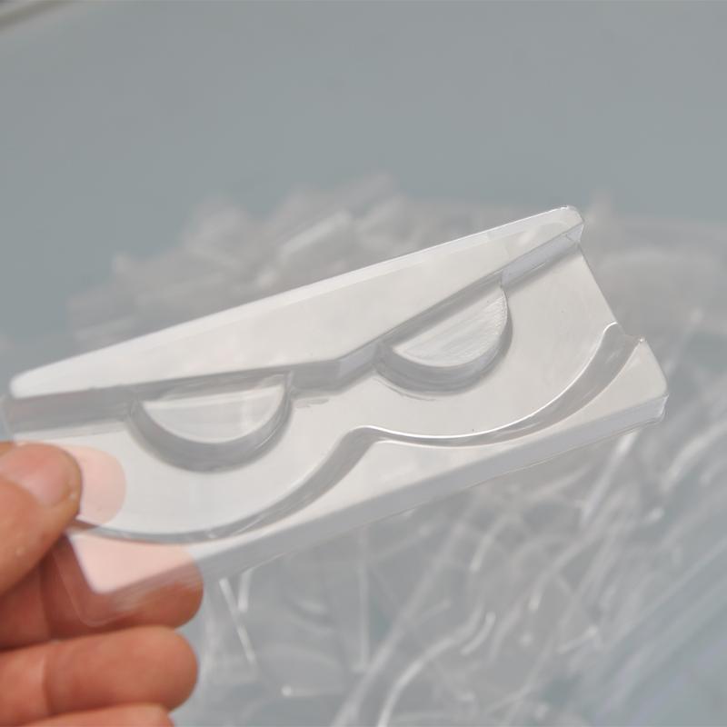 100 / paquet de gros rectangle clair plateau cils cils de vison plastique plateaux de cils de support pour la boîte d'emballage en vrac cils cas vendeur