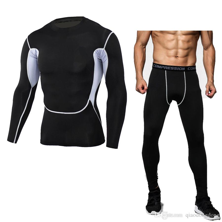 HOT 2019 Sports Suit Men's Summer Fitness Loose Sportswear Running Fast Dry Long Sleeve Pants for Elastic Comfortable Riding GYM