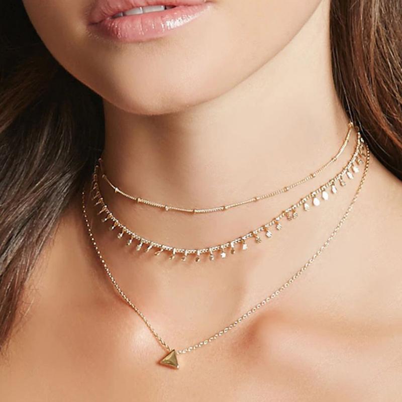 Nueva simple geométrica del triángulo de la aleación de la cadena de joyería de las mujeres de múltiples capas clavícula Gargantilla Collar 1N178
