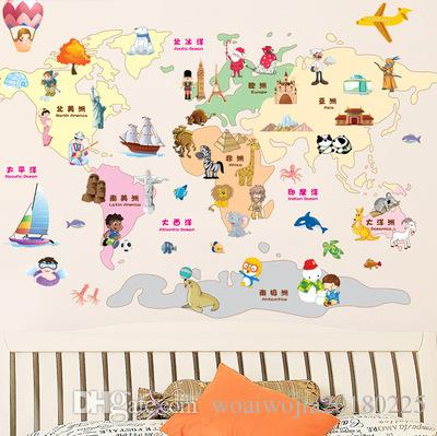 20190621 Animal dos desenhos animados Landmark Background Decoração Removível Papel Autoadesivo