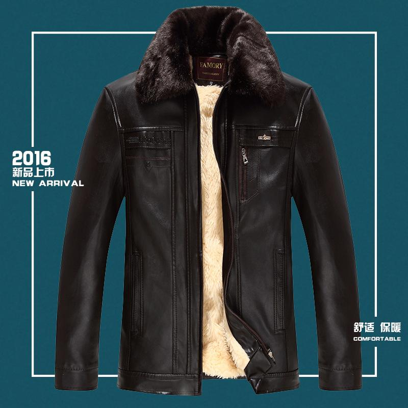 Middle-aged Leather Coat Men'S Wear Winter Warm Coat Jacket Fold-down Collar Brushed And Thick Large Fur Collar Leather Coat Win
