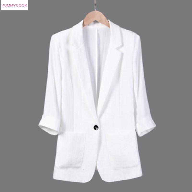 2019 primavera nuova giacca casual da donna in cotone e lino giacca a sette punte manica lunga slim fit sezione sottile top 522 T190906