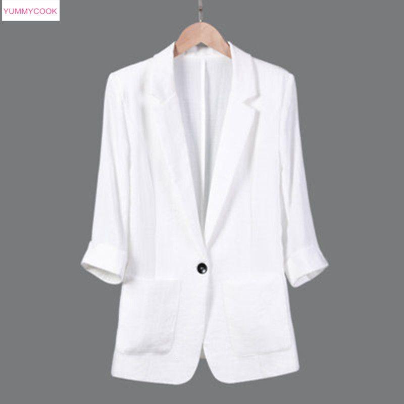 2019 Frühjahr neue beiläufige Pendler Frauen Baumwolle Leinen Anzug Jacke Sieben-Punkt-Ärmel Plus Size Slim Dünnschliff Anzug Mantel Tops 522 T190906
