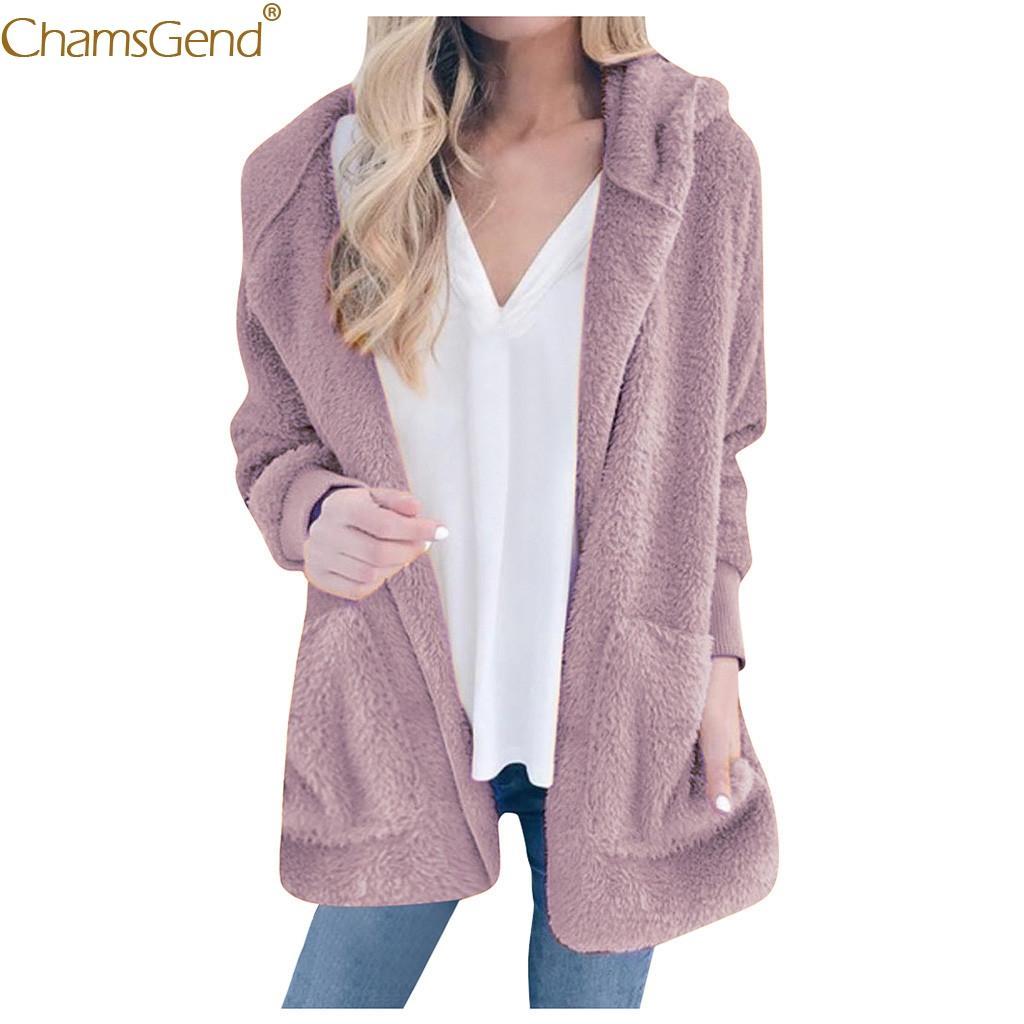 Осень и зима Сплошной цвет плюша с капюшоном пальто женщин плюс размер пальто зимы способа женщин кардигана пальто Женщины Карманы Aug