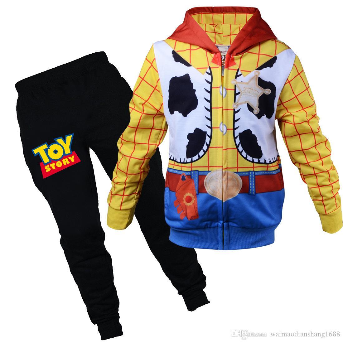 새로운 어린이면 만화 정장 보이 패션 후드 가디건 2 개의 양복 아이 아기 노란색 편안한 운동복 의류