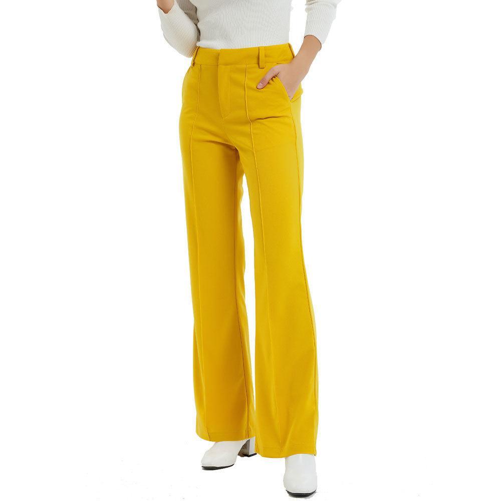 Compre Color Solido Amarillo Pantalones Sueltos Moda Mujer Pantalones Anchos De Pierna Ancha Mujeres Elegantes Pantalones De Cintura Con Cremallera Pantalones Para Mujer Damas Ce02 Q190510 A 17 4 Del Yiwang04 Dhgate Com