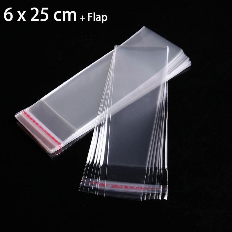 200pcs 6 x 25cm transparentes de OPP Bolsas de plástico para la joyería del collar envase claro sello auto-adhesivo de embalaje de regalo bolsa