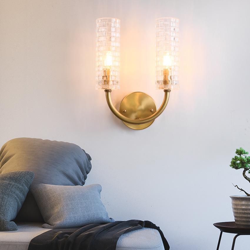 الإضاءة الحديثة السرير مصباح جدار كامل النحاس غطاء زجاجي الإبداعية الجدار الشمعدان غرفة المعيشة الممر ممر اعبا اساسيا ضوء داخلي