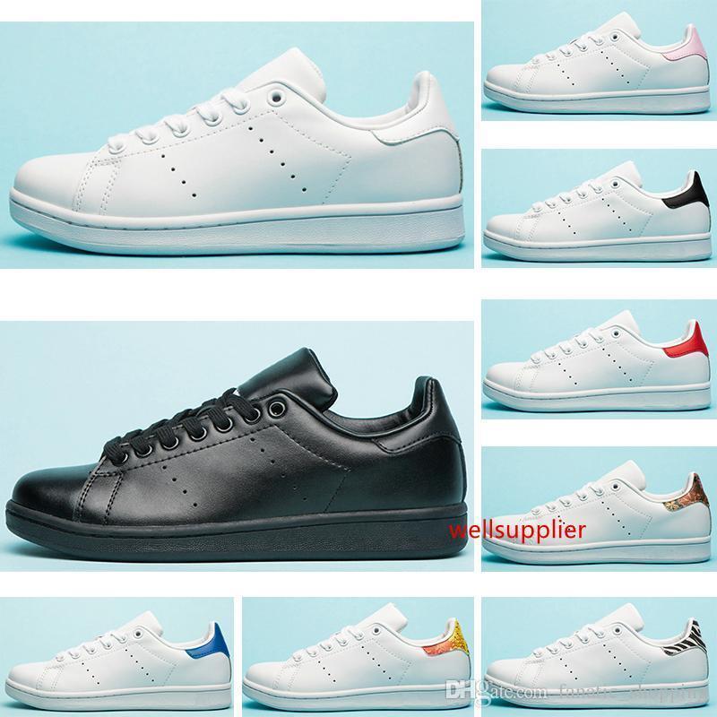 Yeni Ayakkabı Tasarımcısı Smith 2019 Flats Kadınlar Erkek Deri Ayakkabı Zebra Çiçek Üçlü Beyaz Siyah Stan Kaykay Spor Sneakers 36-45