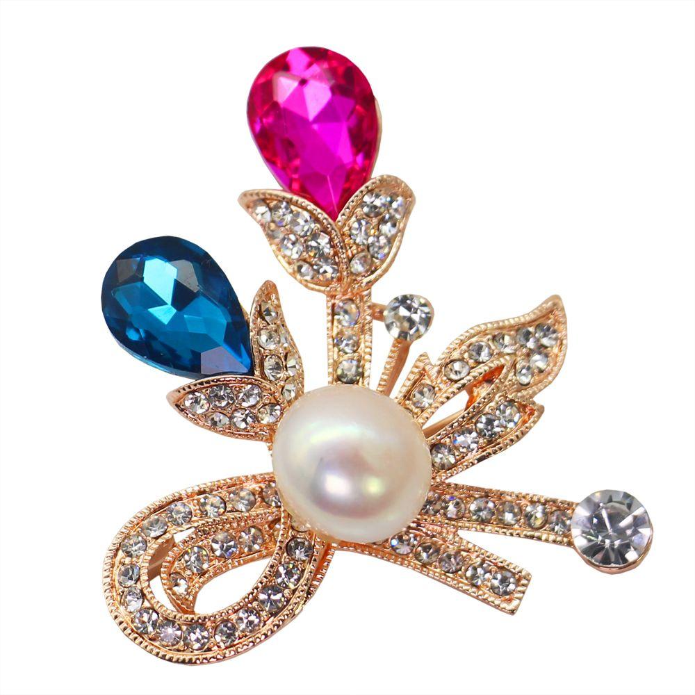Joyas de perlas de agua dulce con encanto de moda 12-13mm broche de aleación de perlas de agua dulce broche de diamantes joyería de moda europea y americana para mujeres