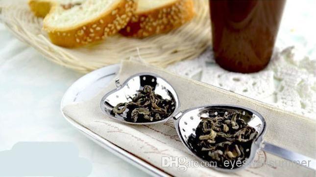 Coração chá Shaped infusor malha bola inoxidável Coador de Herbal Locking Tea Infuser colher coador Steeper Handle Shower Ferramenta Tabela
