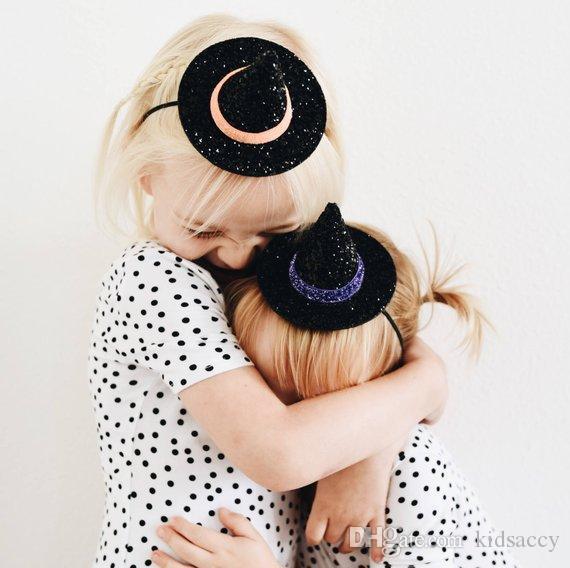 Новая Европа Девочки Симпатичные ведьмы Hat Оголовье Дети Блестки Bowknot Pointy Cap Hairband Дети банданы Упругие глава группы A514