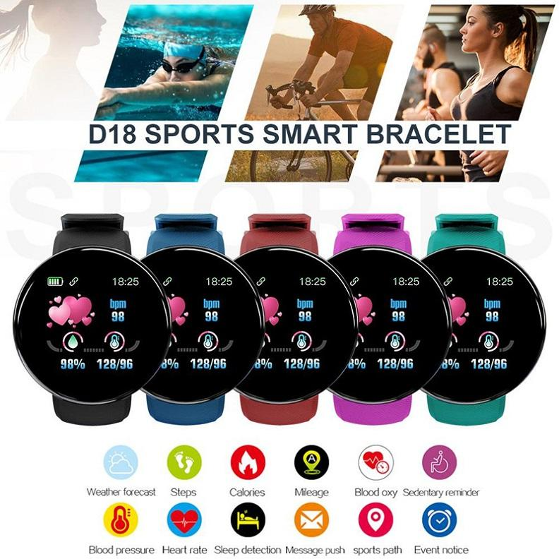 الضغط D18 D20 Y68 الذكية ووتش الدم جولة الذكية معصمه مقاوم للماء الرياضة ووتش الذكية للياقة البدنية المقتفي للحصول على الهاتف الروبوت IOS مع صندوق