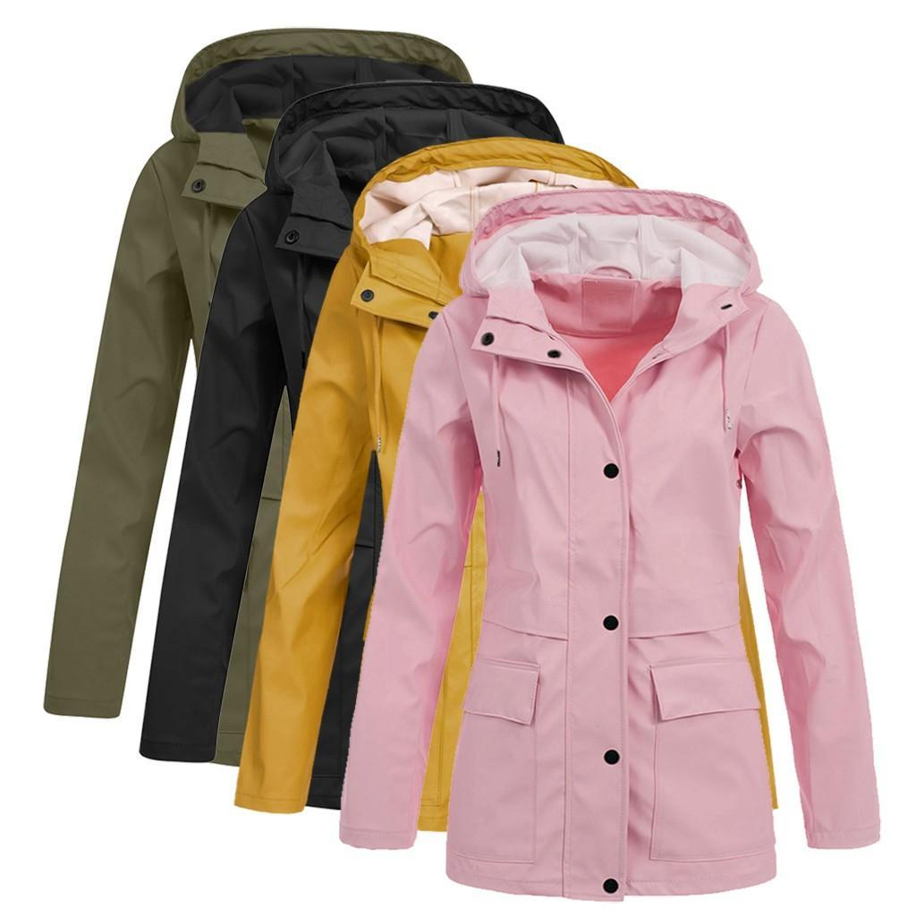 Плюс размер женщин Сплошной дождь куртка Открытый Hoodie Водонепроницаемый Шинель Lady ветрозащитный пальто Длинные Походные пальто куртки 2019