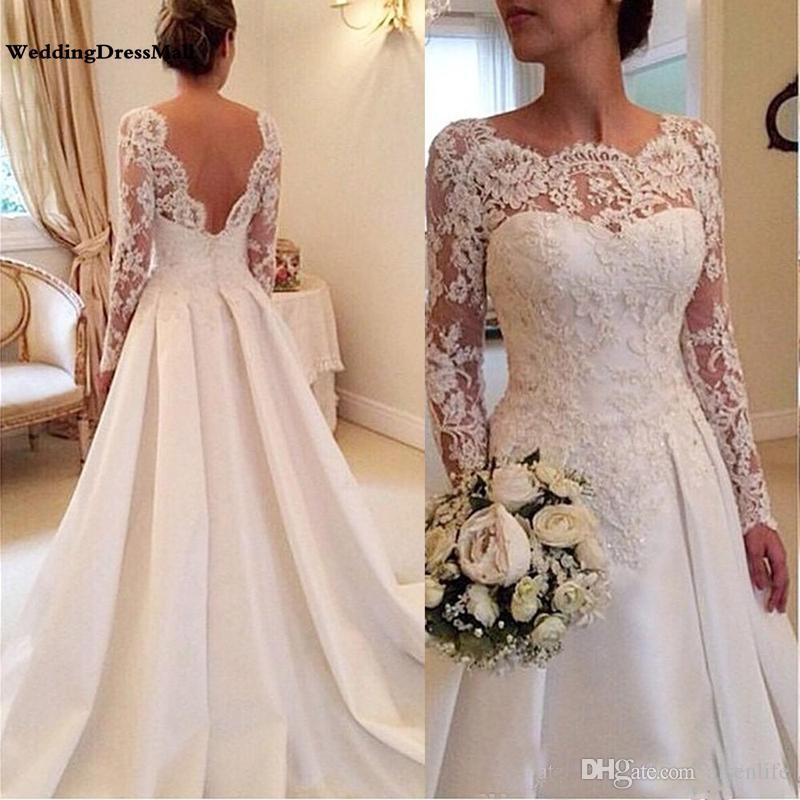 2019 긴 소매 웨딩 드레스 라인 깎아 지른 목 라인 등 받침이없는 레이스와 새틴 신부 웨딩 가운 Vestidos De Novia