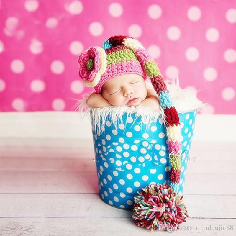 الوليد صور الدعائم الحياكة الزهور طفل بوم بوم قبعة مع ذيل طويل الاكسسوارات التصوير الفوتوغرافي الطفل الرضيع تصوير الرماية الطفل الفوتوغرافية