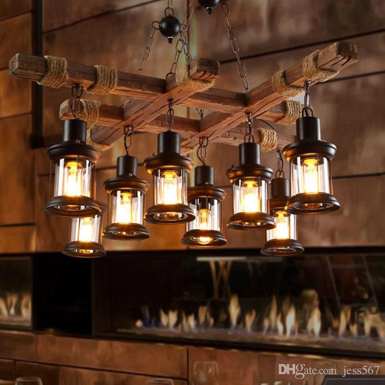 Retro çatı ahşap fıçısı kolye lamba restoran depo yemek odası Şarap mahzeni koridor koridor pub cafe avize varil ışık