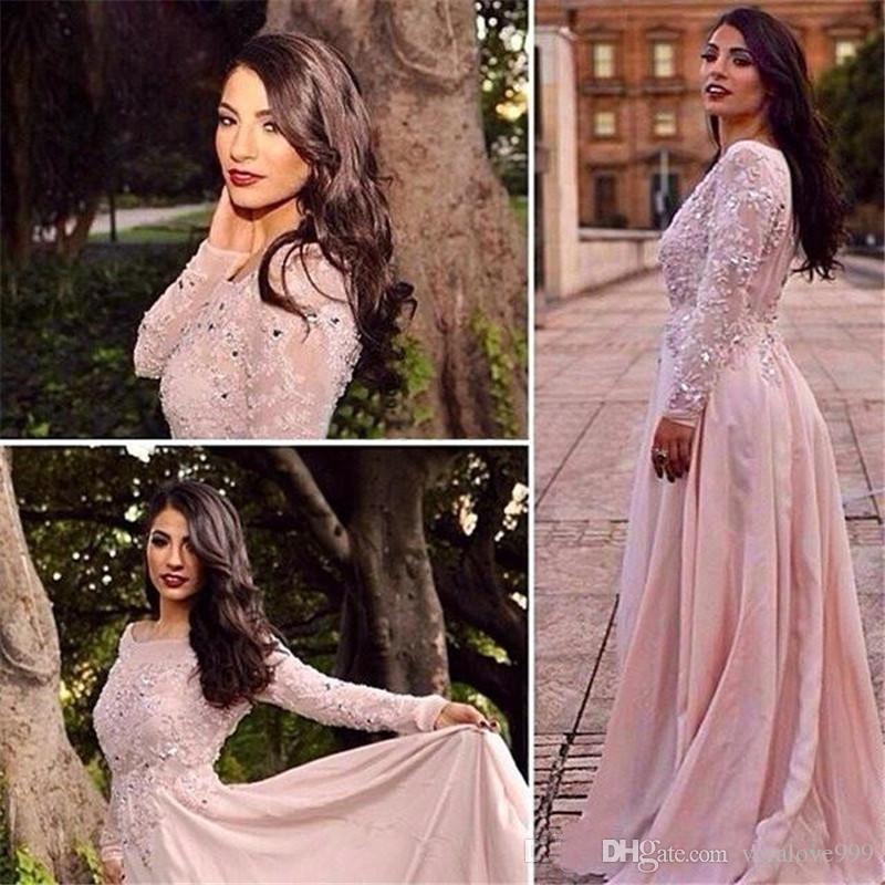 2019 Rosa Charme lunghe maniche dei vestiti da sera in pizzo applicazioni di perline Vestidos de fiesta Chiffon Prom Dresses arabi Dubai