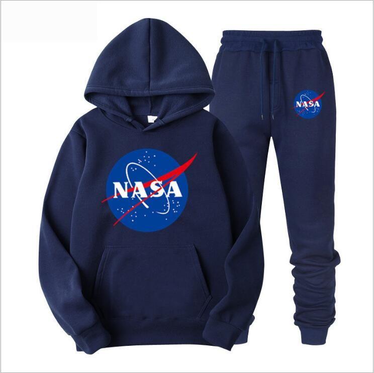 Survêtements de sport NASA hommes astronaute Hoodie + pantalons Ensembles marque Survêtements deportivo femmes sport à capuche Costume Jogger Casual
