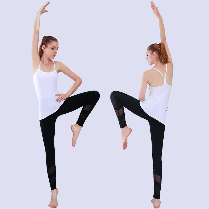 Pantalones de yoga para mujeres con mallas de tejido elástico de malla para uso activo Ropa de práctica de yoga Ropa casual