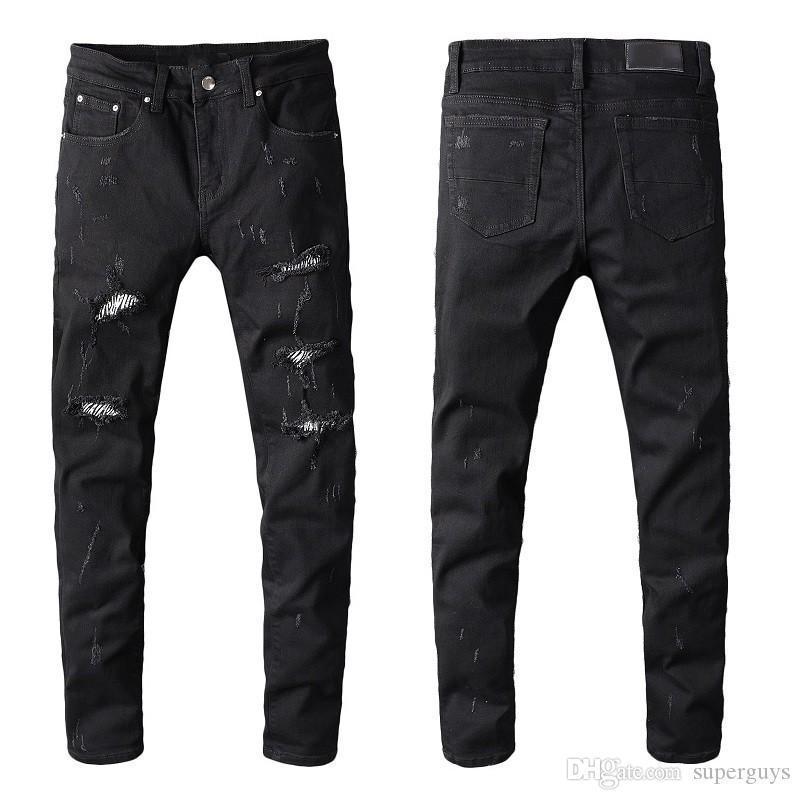 Distressed Destroyed Jeans Patch Cristalli uomo Moto Magro denim lavato pantaloni stretch Slim pantaloni Dimensioni 28-40 # 601
