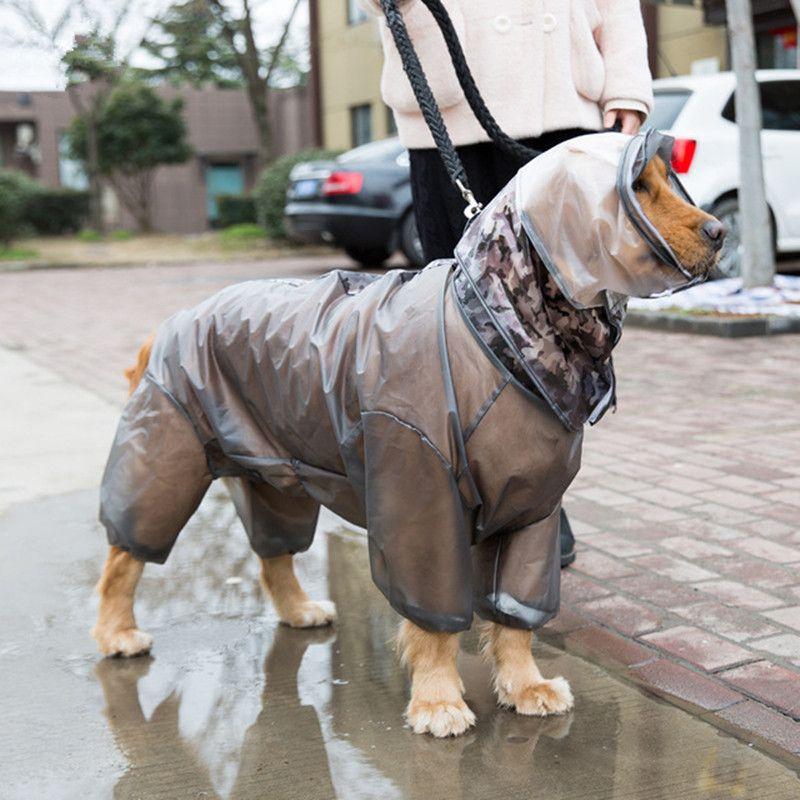 Большая Собака Дождевик Big Dog Водонепроницаемая одежда Экипировка Pet капюшоном плаща самоед лайка Золотистый ретривер Лабрадор