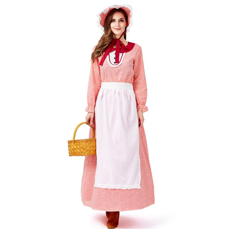 New California Farm Ladies Dress Hat Apron Maid Cosplay Costume Women Long Floral Vestido Fancy Stage Outfit Carnival Costume