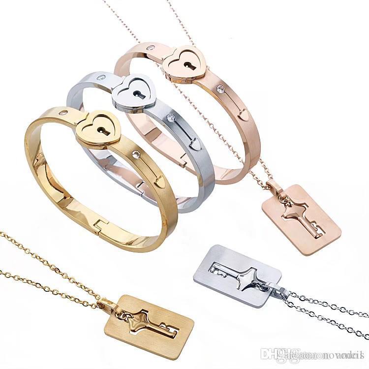 Paar Schmuck Set Edelstahl Schlüssel konzentrische Anhänger Halskette Herz Sperre Armbänder Liebhaber Geburtstag Hochzeitsgeschenk mit 3 Farben