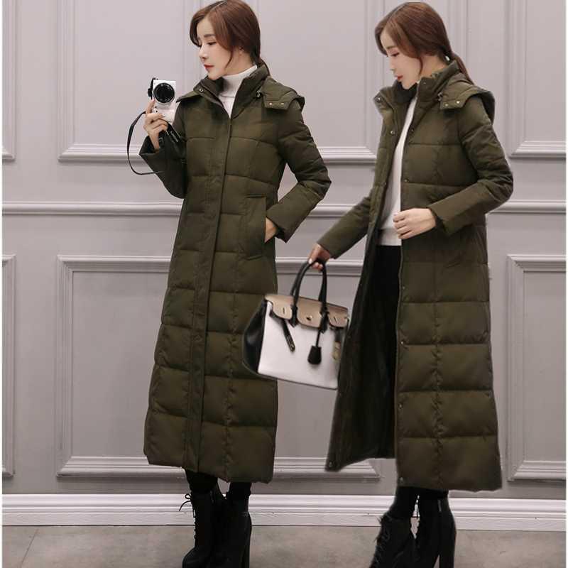 Coreano di modo del cappotto delle donne ultra-leggeri Giacche cappotto lungo Plus Size Down Jacket donna con cappuccio Giubbotto imbottito Giacche Cappotti Donne 3XL