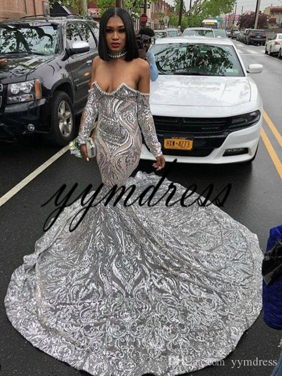 Plata vestidos de noche 2019 con cuello redondo manga llena espalda abierta de barrido Tamaño de tren más cordón de la sirena Prom Vestidos robe de soirée