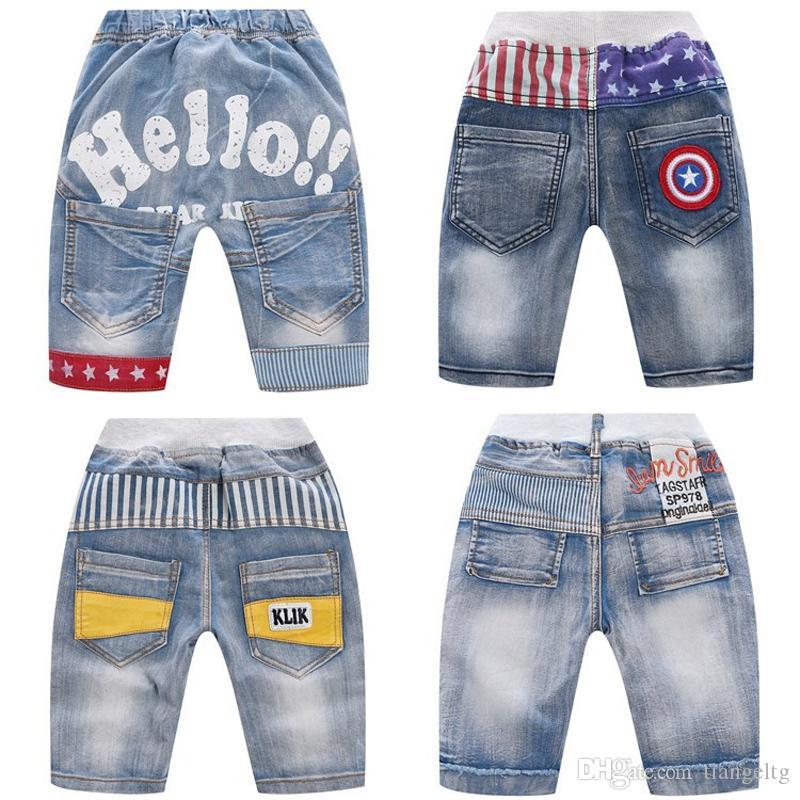 طفل رضيع السراويل الجينز طفل الرضيع طفل رضيع رسالة هول جينز الصيف مطاطا مخطط نجوم جيب السروال سروال 3-10T