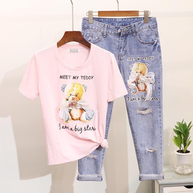 2019 Spring Summer Women's Cartoon Small Bear Short Sleeve T-shirt + Break Holes Jeans Two Piece Suit Students Denim Pants Set