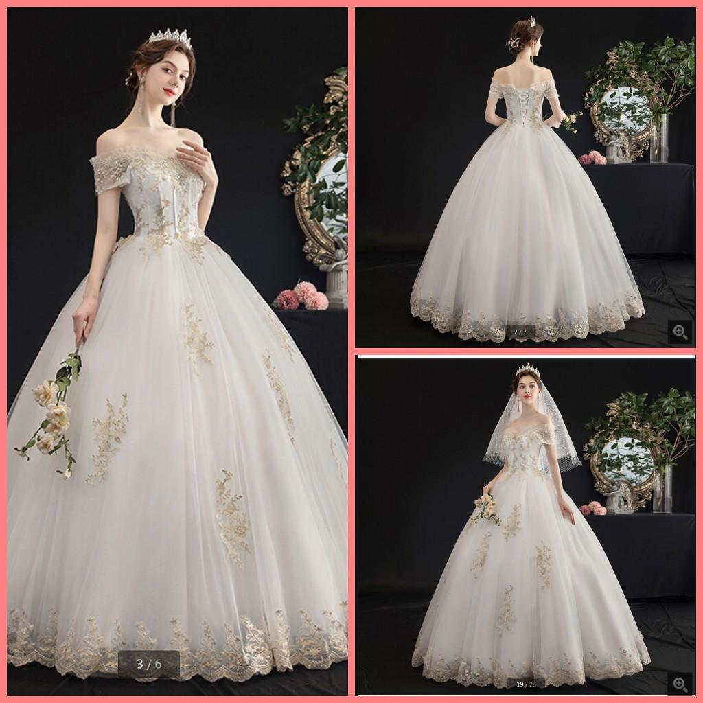 2020 Robe de mariage white ball gown wedding dress champagne lace appliques beaded sweetheart neck puffy bride dresses fashion bridal gowns