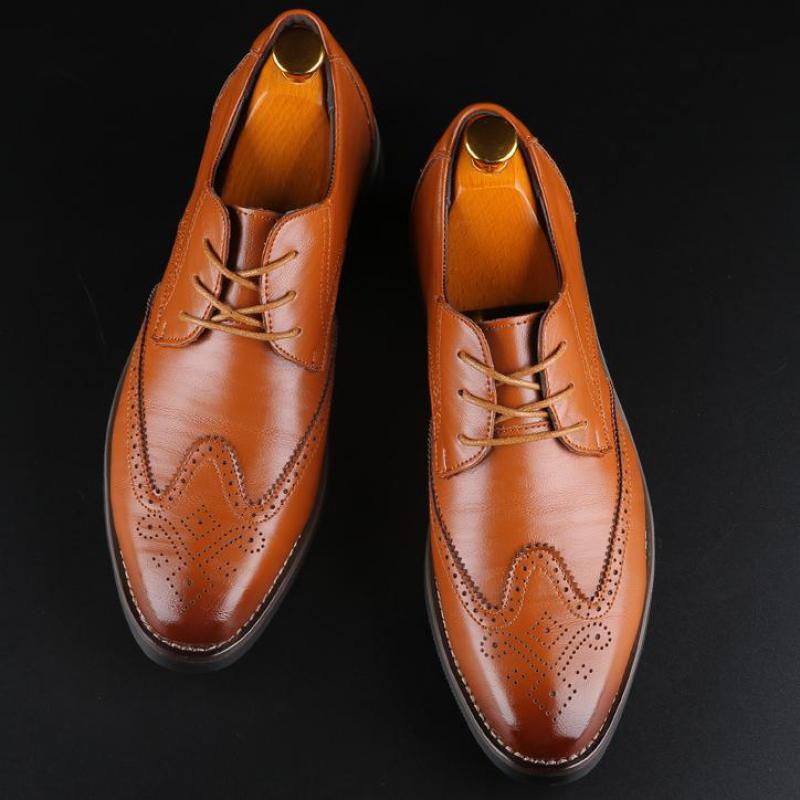 ~ 48 37 Artı boyutu Mens Lace Up Derby Brogue ayakkabı erkekler Sivri Burun Elbise Düğün Ayakkabı Biçimsel İş Ofis Suit Deri Ayakkabı