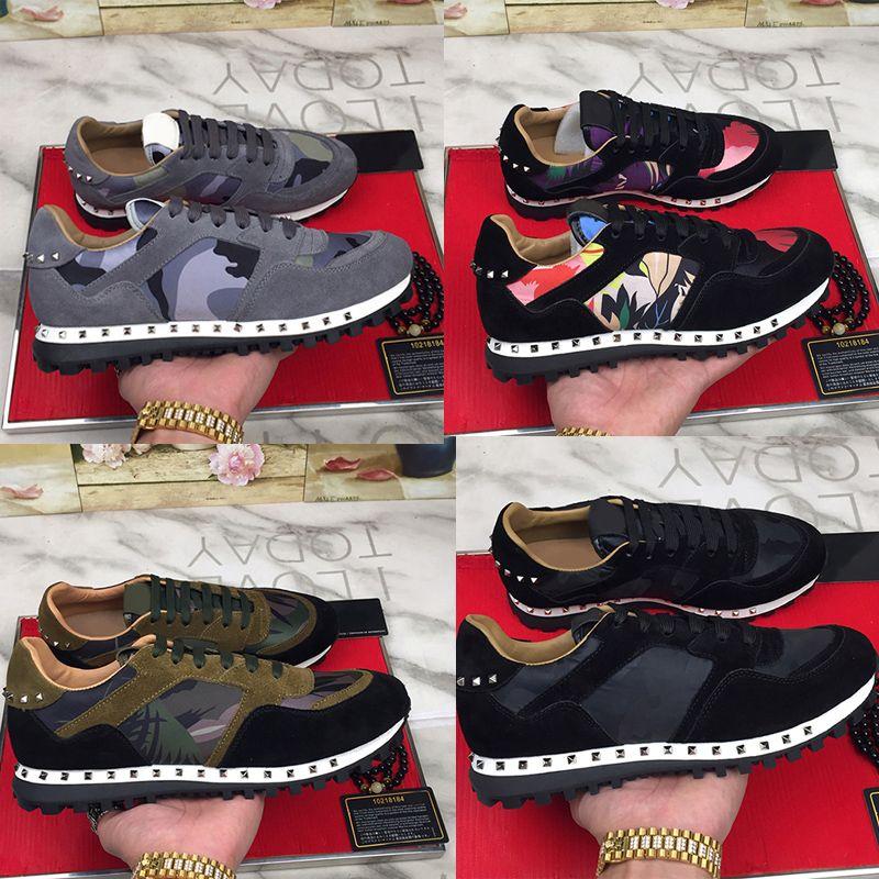 2020 grife Shoes Men Stud esporte Rivet Camouflage Sneakers Runner Formadores Sapatos casuais Tamanho euro Unsex